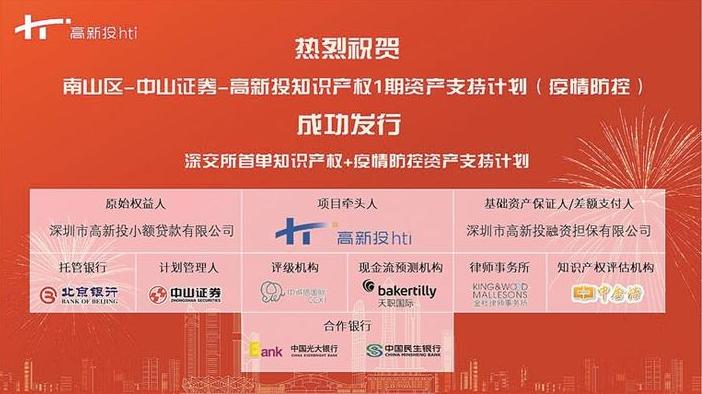 深圳设立首单防疫知识产权资产支持专项计划