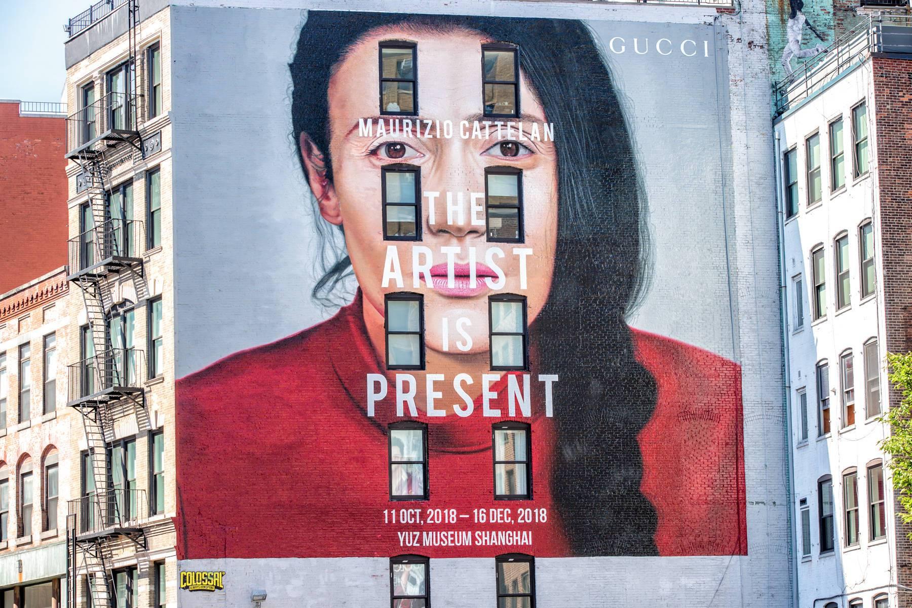 """古驰推出""""艺术家此在""""展览主题艺术墙"""