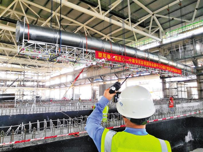 深圳国际会展中心吊装国内单根最重最长螺旋风