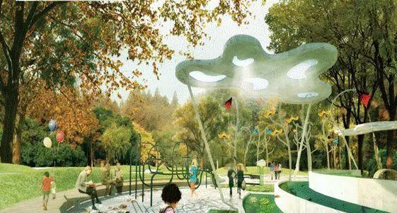 坪山区儿童公园雨水花园与休憩亭效果图