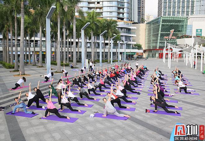 倡导健康生活方式百名瑜伽爱好者户外齐练瑜伽