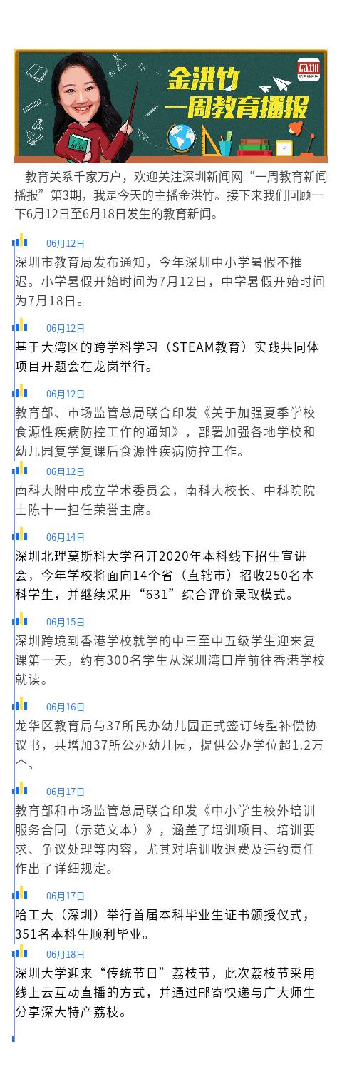 一周教育播报|第3期:深圳中小学放假不推迟深港跨境学生复课