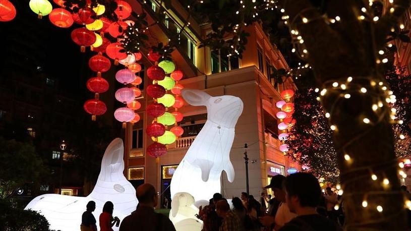 """香港:灯笼挂 """"月兔""""来"""