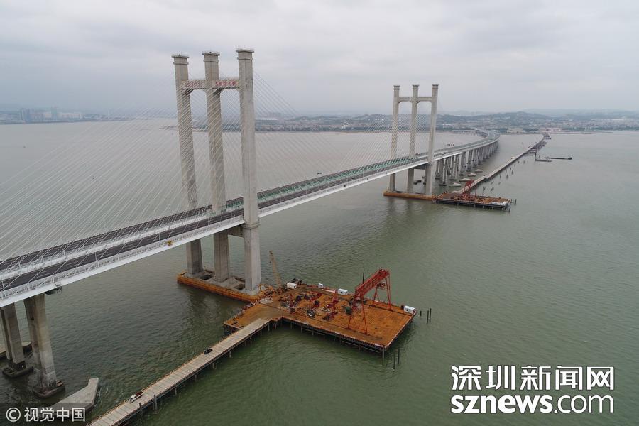 航拍福厦高铁泉州湾跨海大桥施工正酣