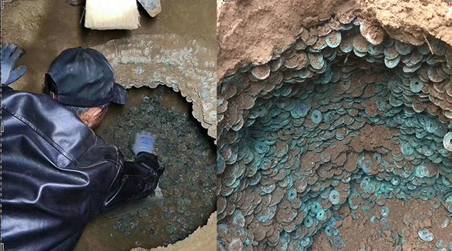 陕西渭南一工地发现古币 共重920斤约10万枚