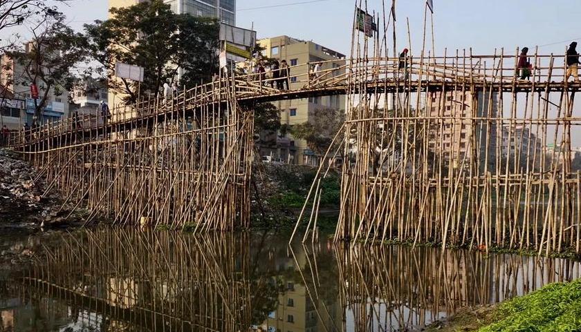 揭秘孟加拉特色竹桥搭建过程  就地取材 造价低廉