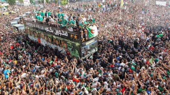 非洲杯:阿尔及利亚球迷庆祝球队凯旋